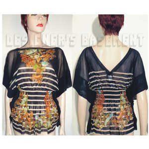 JEAN PAUL GAULTIER stripeJewel MESH Cover-Up tunic